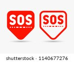 sos marker  sign  icon  label.... | Shutterstock .eps vector #1140677276