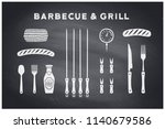 barbecue  grill set. poster bbq ... | Shutterstock .eps vector #1140679586