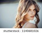beautiful boho girl portrait... | Shutterstock . vector #1140681026