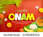 happy onam background with... | Shutterstock .eps vector #1140682016
