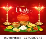 happy onam background with oil... | Shutterstock .eps vector #1140687143