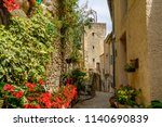 street and belfry of village... | Shutterstock . vector #1140690839