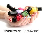 woman hands with nail polishes... | Shutterstock . vector #114069109