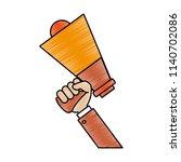 hand holding bullhorn scribble | Shutterstock .eps vector #1140702086
