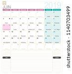 french calendar 2019   june...   Shutterstock .eps vector #1140703499