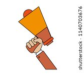 hand holding bullhorn | Shutterstock .eps vector #1140703676