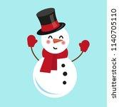 cute snowman character. merry... | Shutterstock .eps vector #1140705110