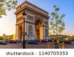 paris arc de triomphe ... | Shutterstock . vector #1140705353