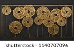 3d Render Gold Wall Art Metal...