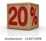 one wooden cube with the number twenty and the percent symbol (3d render) - stock photo