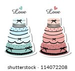 two wedding cakes isolated | Shutterstock .eps vector #114072208