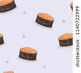 seamless sea urchin sushi... | Shutterstock .eps vector #1140722999