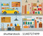 garage interior car room banner ... | Shutterstock .eps vector #1140727499