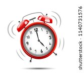 realistic red alarm clock... | Shutterstock .eps vector #1140731576