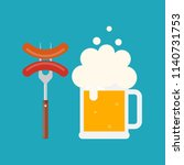 beer mug with foam and sausage... | Shutterstock .eps vector #1140731753