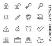 set of simple contour security... | Shutterstock .eps vector #114074188