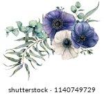 watercolor elegant bouquet with ... | Shutterstock . vector #1140749729