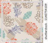 colorful silk scarf design with ... | Shutterstock .eps vector #1140754109