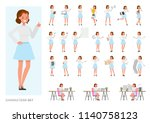 set of business woman character ... | Shutterstock .eps vector #1140758123