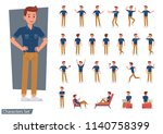 set of man wear blue jeans... | Shutterstock .eps vector #1140758399