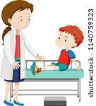 a boy injured leg illustration | Shutterstock .eps vector #1140759323