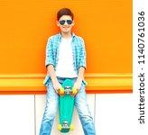 fashion smiling teenager boy... | Shutterstock . vector #1140761036