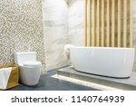 modern bathroom interior with... | Shutterstock . vector #1140764939