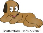 cartoon a dog is relaxed | Shutterstock .eps vector #1140777209