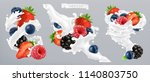 forest berry and milk splash.... | Shutterstock .eps vector #1140803750