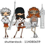cartoon fashionable girls ...   Shutterstock .eps vector #114080659