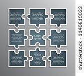 nine pieces puzzle squares... | Shutterstock .eps vector #1140810023