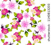 flower print in bright colors.... | Shutterstock .eps vector #1140813203