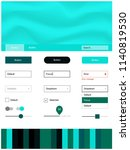 dark blue  green vector ui kit...