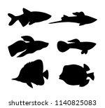 aquarium animals dark...   Shutterstock .eps vector #1140825083