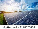 solar panel on blue sky... | Shutterstock . vector #1140828803