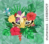 exotic hand drawn of tiger face ...   Shutterstock .eps vector #1140840929