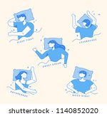 various poses of sleeping... | Shutterstock .eps vector #1140852020