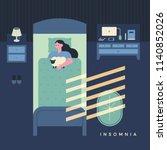 woman sleeping in the moonlight ... | Shutterstock .eps vector #1140852026