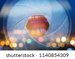 camera lens with lense... | Shutterstock . vector #1140854309