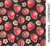 strawberry pattern. fruit... | Shutterstock . vector #1140856643