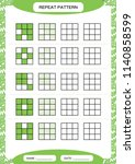 repeat green pattern. cube grid ... | Shutterstock .eps vector #1140858599