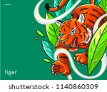 illustration of a tiger in a... | Shutterstock .eps vector #1140860309