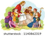 jesus preaching to a group of... | Shutterstock .eps vector #1140862319