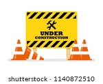 under construction sign. vector ... | Shutterstock .eps vector #1140872510