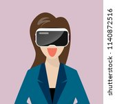 woman wearing virtual reality... | Shutterstock .eps vector #1140872516