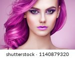 beauty fashion model girl with... | Shutterstock . vector #1140879320