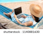 young woman with laptop resting ... | Shutterstock . vector #1140881630
