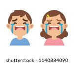 cute little boy and girl crying ... | Shutterstock .eps vector #1140884090