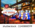famous las vegas sign at night... | Shutterstock . vector #1140888599