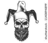 Skull In The Jester Hat. Vecto...